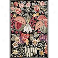 Spencer Collection Black Floral Rug