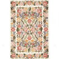Spence rCollection Floral White Wool Rug