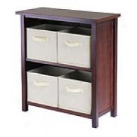 Stella Off White 5pc Storage Shelf With Baskets