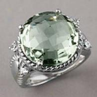 Sterling 11.56 Cttw. Green Amethyst & Topaz Ring