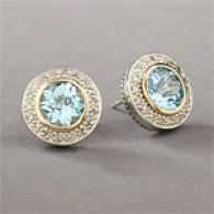 Sterling & 14k Blue Topaz & Rhombus Earring