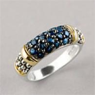 Sterling & 14k Gold 0.86 Cttw. Pave Sapphire Ring