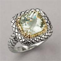 Sterling & 14k Gold 3.0 Cttw. Green Amethyst Ring