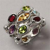 Sterling 8.50 Cttw. Multi Gemstone 3-ring Set