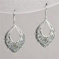 Sterling & Marcasite Filigree Chandelier Earrings