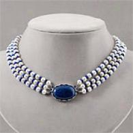 Sterling Maritime Pearl Lapis & Sapphire Necklace