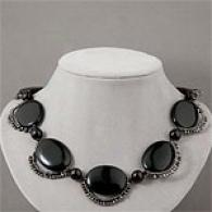 Sterling Silver 1134 Cttw.. Onyx Necklace
