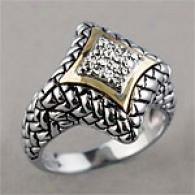 Sterling Silver 14k & .16 Cttw. Diamond Ring