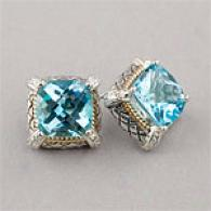 Sterling Silver & 14k Blue Topaz & iDamond Earring