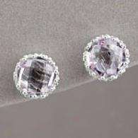 Sterling Silver 3.30 Cttw. Amethyst Crown Earrings