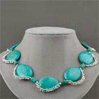 Sterling Silver 992 Cttw. Turquoise Necklace