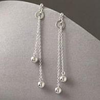 Genuine Silver Dangle Bead Earrings