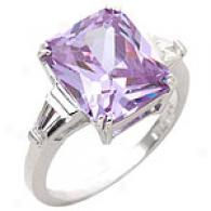 Sterling Silver & Emerald-cut Lavender Cz Ring