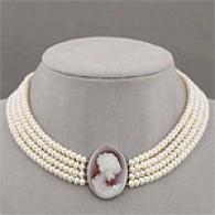 Sterling Silver Freshwater Pearl & Cameo Necklace