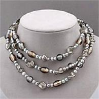 Sterling Silver Grey Murano Bead Fashion Necklace