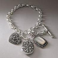 Sterling Silver & Marcasite Charm Toggle Bracelet