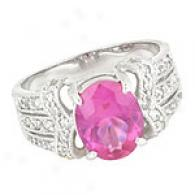 Sterling Silvery Oval Dark Pink Cz Ring