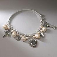 Sterling Silevr Pearl & Marcasite Heart Bracelet