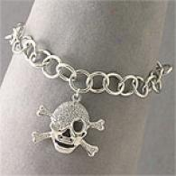 Sterling Silver Skull & Crossbones Attraction Bracelet
