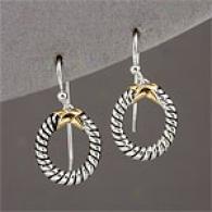 Sterling Silver & Yellow Gold Open Ring Earrings
