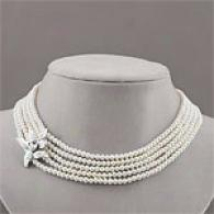 Sterling Textured Flower 5-roq Pearl Necklace
