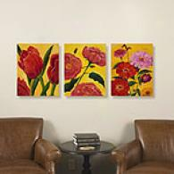 Summer Bloom Set Of 3 Outdoor Canvas Prints
