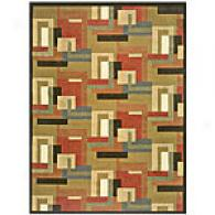 Sunset Green Multi-striped Area Rug
