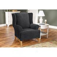 Sure Fit Black Stretch Grid Wing Chair Slipcover