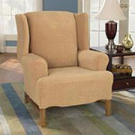 Sure Fit Camel Stretch Grid Wing Chair Slipcover
