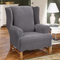 Sure Fit Charcoal Grey Stretch Grid Wing Chair