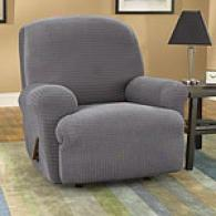 Sure Fit Charcoal Stretch Grid Recliner Slipcover