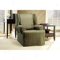 Sure Fit Chenille Green Wing Chair Slipcover