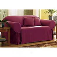 Sure Suit Cotton Solid Bordeaux Slipcover