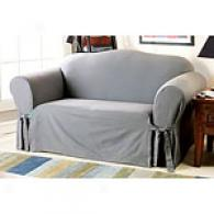 Sure Fit Solid Grey Cotton Loveseat Slipcover