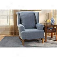 Sure Fit Stretch Pinst5ipe Wing Chair Slipcovre