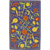 Surya Caribbean Bright Blue Floral Wool Rug