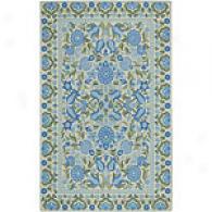 Surya Flor Beige & Blue Hooked Wool Rug