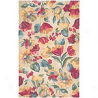 Surrya Flor Beige & Hot Pink Hooked Wool Rug
