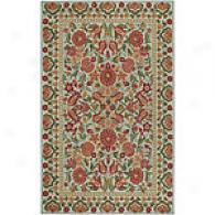 Surya Flor Beige & Rose Hooked Wool Rug