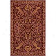 Surya Flor Burgundy Holked Wool Rug