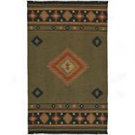 Surya Jewel Tone Southwestern Moss Inexperienced Wool Rug