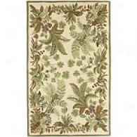 Syrya Kashi Beige Floral Hand-tufted Wool Rug