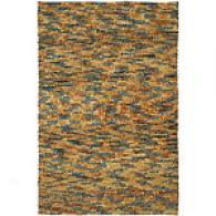 Surya Rust Multi Contour Wool Shag Rug
