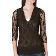 Sweet Pea 3/4 Sleeve Lace Ruched V-neck Top