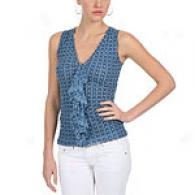 Sweet Pea Brandy Navy Floral Mesh Top