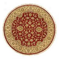 Talmage Red And Gold Round Hand Knotted Wool Rug