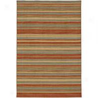 Tamanda Sea Green & Rust Flat Woven Wool Rug
