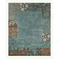 Teal Floral Square Border Hand Tufted Wool Rug