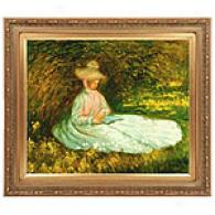 The Reader By Monet Framed Oil Paibting