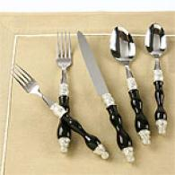 Tracy Porter Calyx Baroque Black 5pc Flatware Set